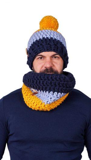 ПЛЕТКО мъжки комплект ръчно плетена шапка и яка
