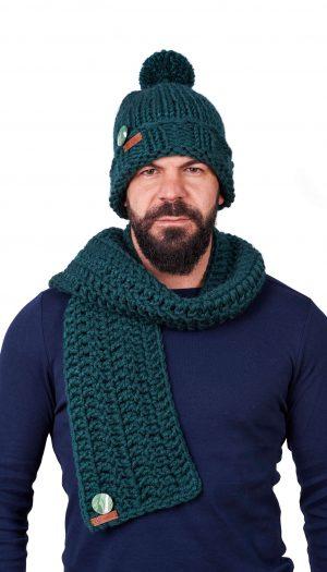ПЛЕТКО мъжки комплект ръчно плетена шапка и шал