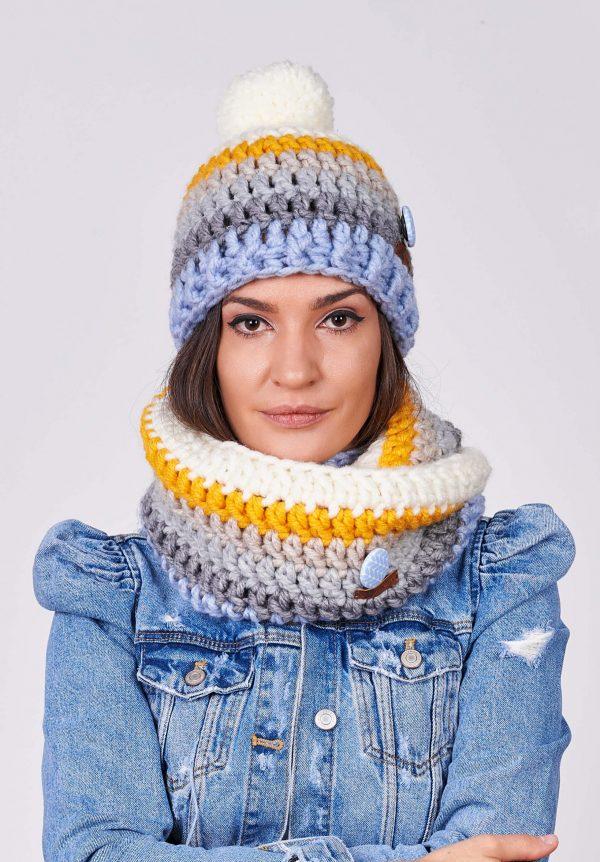 ПЛЕТКО женски комплект ръчно плетена шапка и шал