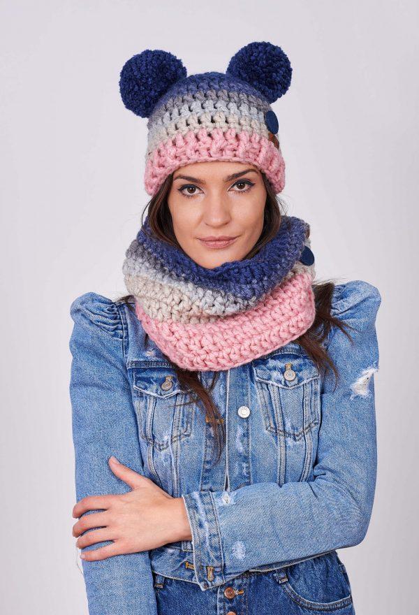 ПЛЕТКО женски комплект ръчно плетена шапка и яка