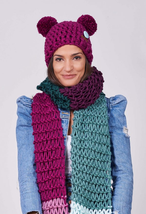 ПЛЕТКО женски комплект ръчно плетена шапка и шал гигант