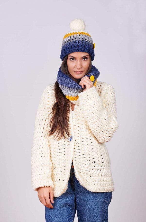 Дамска ръчно плетена жилетка и яке