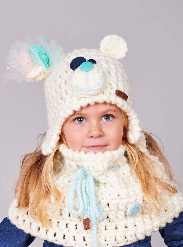 ПЛЕТКО детски комплект ръчно плетена шапка мече и яка